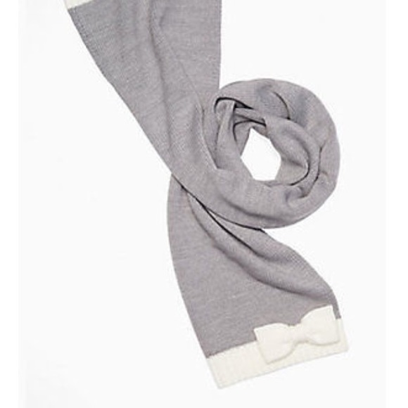 kate spade Accessories - Kate Spade Gray and white bow scarf